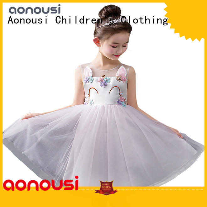 Aonousi little girl fancy party dresses for business