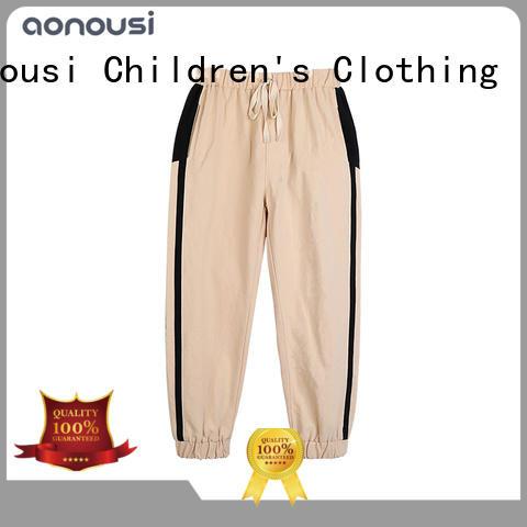 Aonousi pants girls elastic waist khaki pants manufacturers for girls