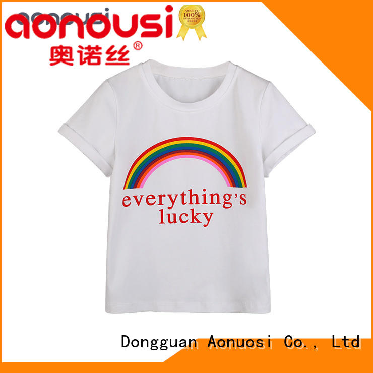 Aonousi cotton girls red tee shirt for business for kids