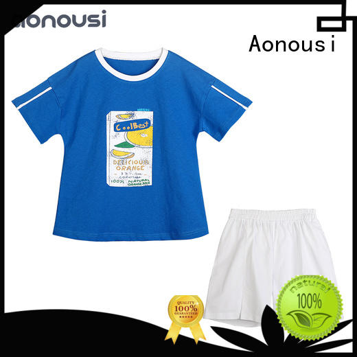 Aonousi new design toddler girl sets blue for kids