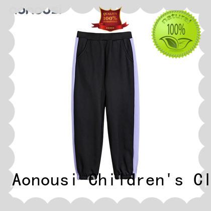 Girls loose sport pants wholesale girls fashion soft purple striped black pants kids designer clothes