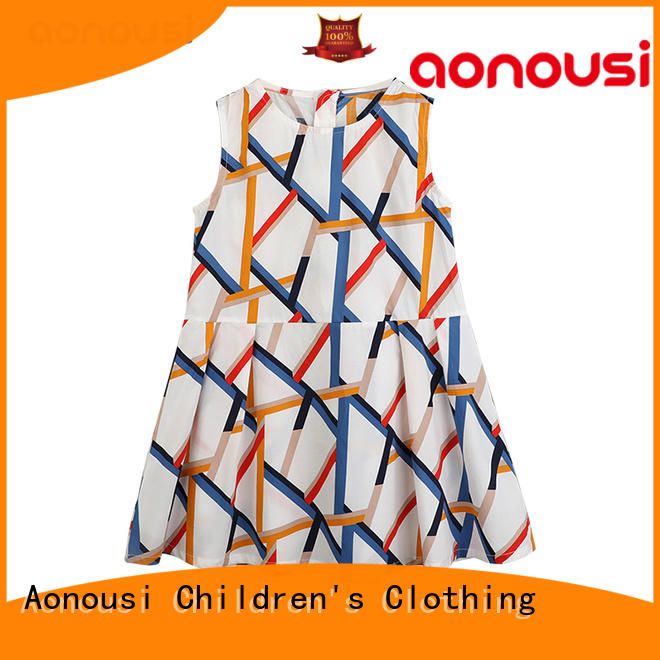 Designer children cotton dresses wholesale girls comfortable summer sleeveless dress