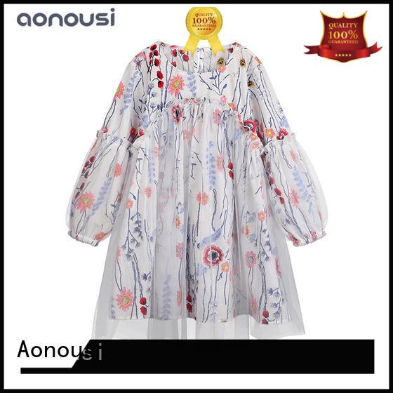 Aonousi New girls denim skirt long for business for kids